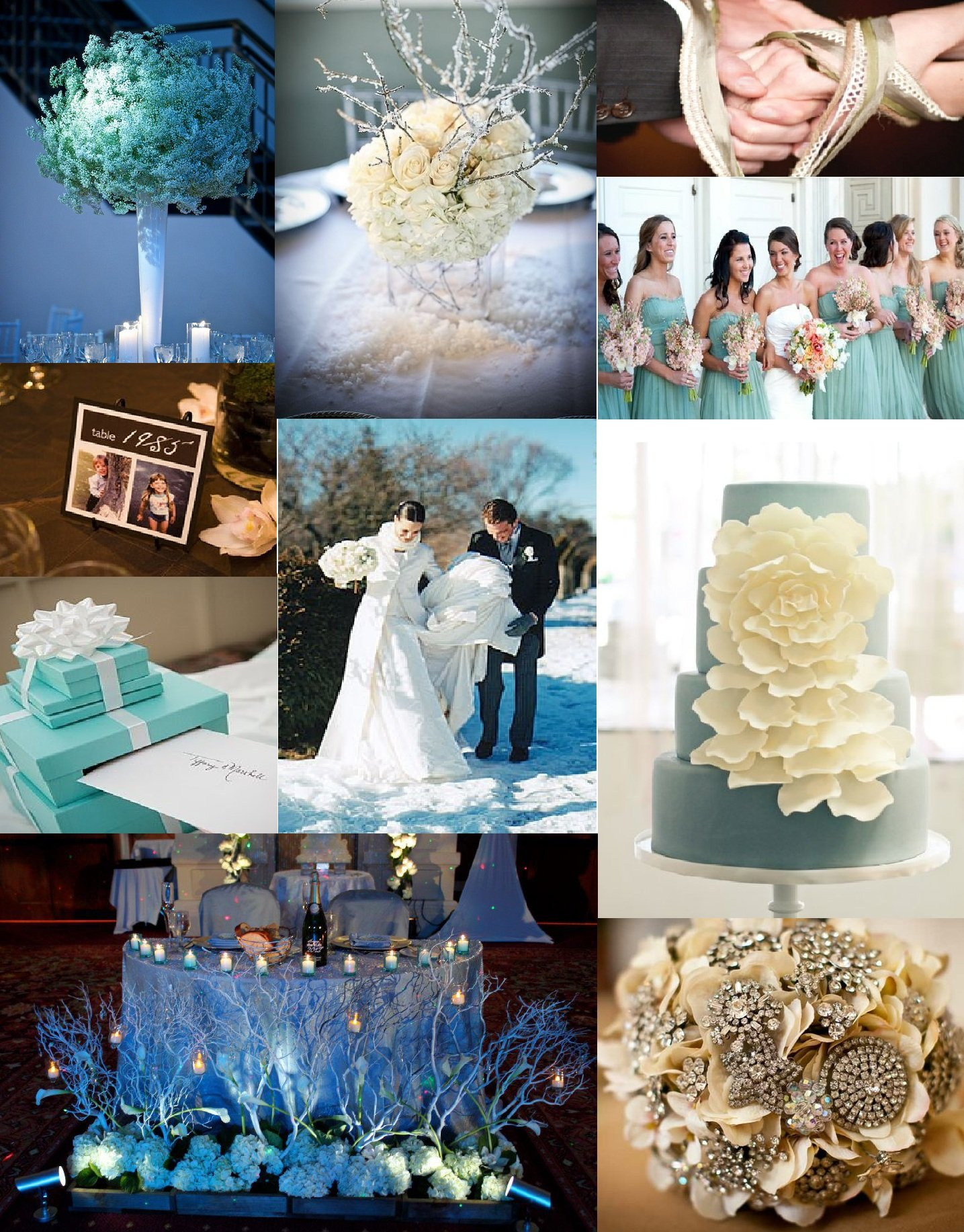 Winter white and tiffany blue wedding inspiration washington dc photo board 1 1 tall white flower arrangements savethedateevents 2 bride and bridesmaids stylemepretty 3 place card table mightylinksfo