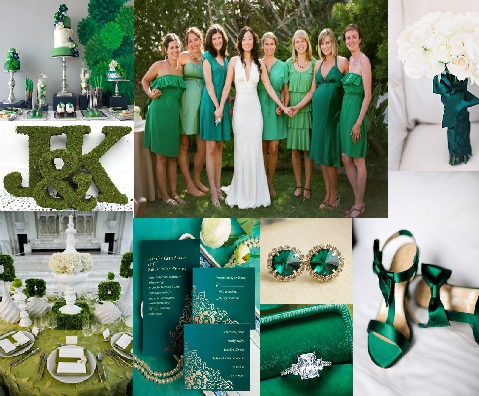 Emerald Green and White Wedding