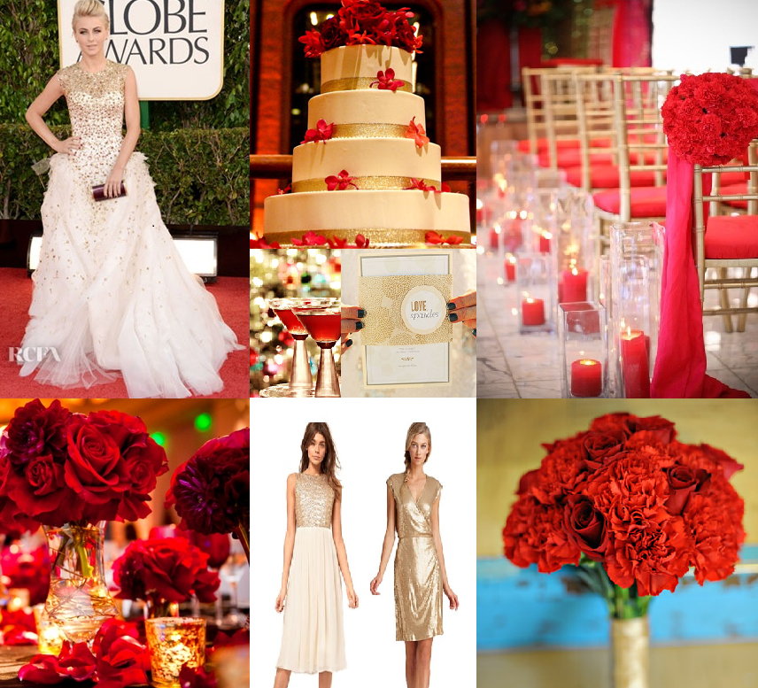 Red and gold wedding inspiration washington dc wedding planner photos 1 monique lhuillier gown worn by julianne hough styleserendipity 2 gold and red wedding cake theknot 3 red and gold ceremony space junglespirit Gallery