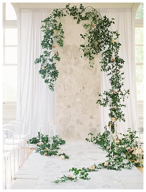 Washington, DC Elegant Watercolor Garden Wedding Inspiration, Bright Occasions Wedding Planning, Photo by Bonnie Sen Photographer - Ceremony Backdrop