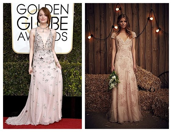 Golden Globe Fashion Inspired Wedding 2017 Trends. Emma Stone. Wedding Dress by Jenny Packham. Inspiration by DC Wedding Planner by Bright Occasions