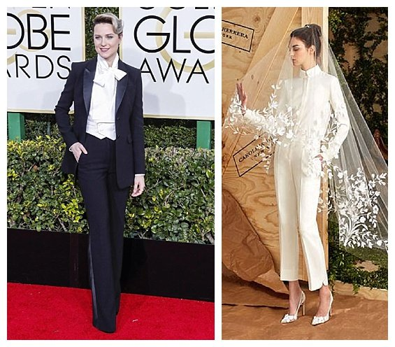 Golden Globe Fashion Inspired Wedding 2017 Trends. Evan Rachel Wood. Wedding Suit by Carolina Herrera. Inspiration by DC Wedding Planner by Bright Occasions