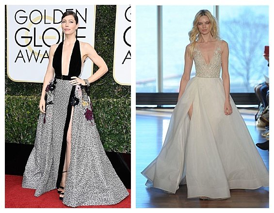 Golden Globe Fashion Inspired Wedding 2017 Trends. Jessica Biel. Wedding Dress by Rita Vinieris for Rivini. Inspiration by DC Wedding Planner by Bright Occasions