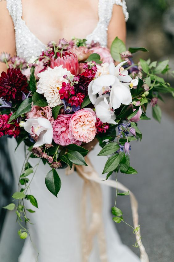 Pink and Red Valentines Day Wedding Inspiration, Bridal Bouquet, DC Wedding Planner Bright Occasions