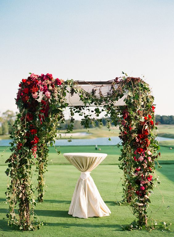 Pink and Red Valentines Day Wedding Inspiration, Ceremony Arch, DC Wedding Planner Bright Occasions