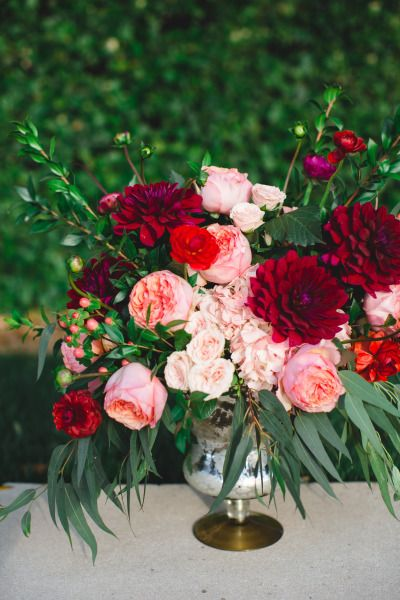 Pink and Red Valentines Day Wedding Inspiration, Floral Centerpiece, DC Wedding Planner Bright Occasions
