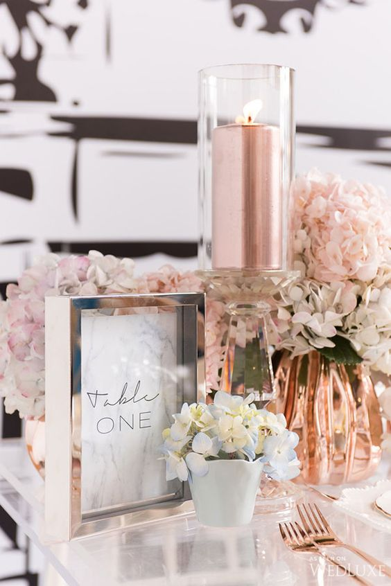 Rose Gold Wedding Inspiration, Rose Gold Candles, DC Wedding Planner Bright Occasions