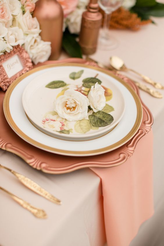 Rose Gold Wedding Inspiration, Rose Gold Charger, DC Wedding Planner Bright Occasions