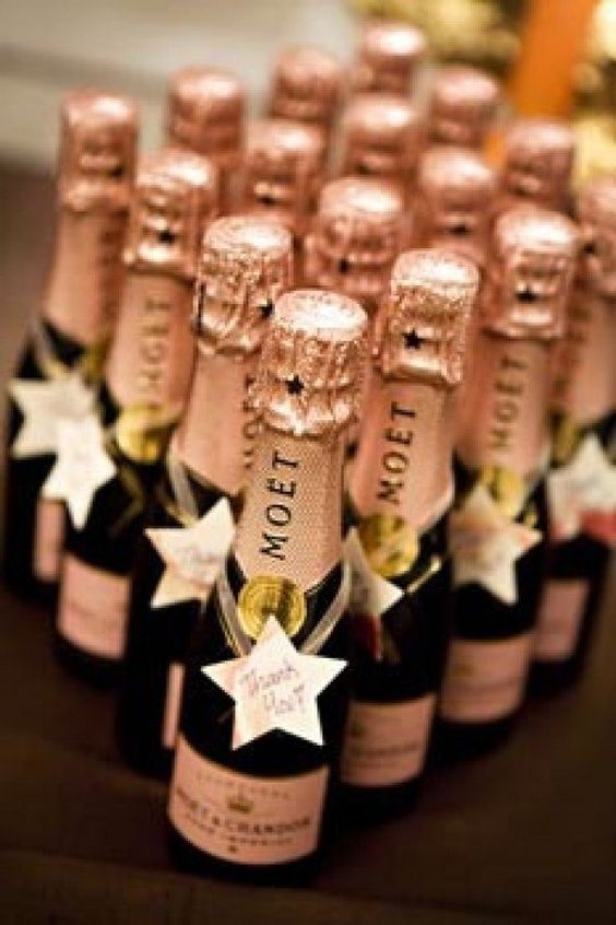 Rose Gold Wedding Inspiration, Rose Gold Mini Moet Champagne Favors, DC Wedding Planner Bright Occasions