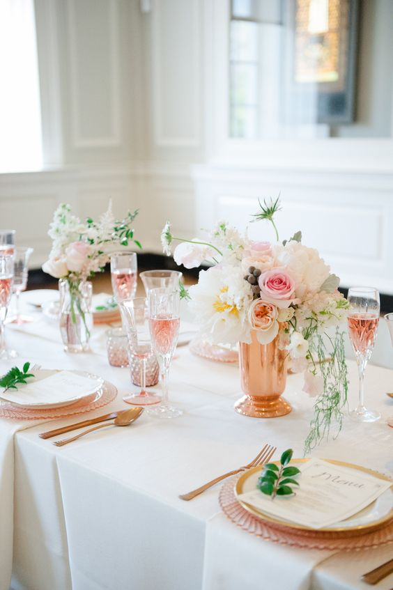 Rose Gold Wedding Inspiration, Rose Gold Vase, DC Wedding Planner Bright Occasions