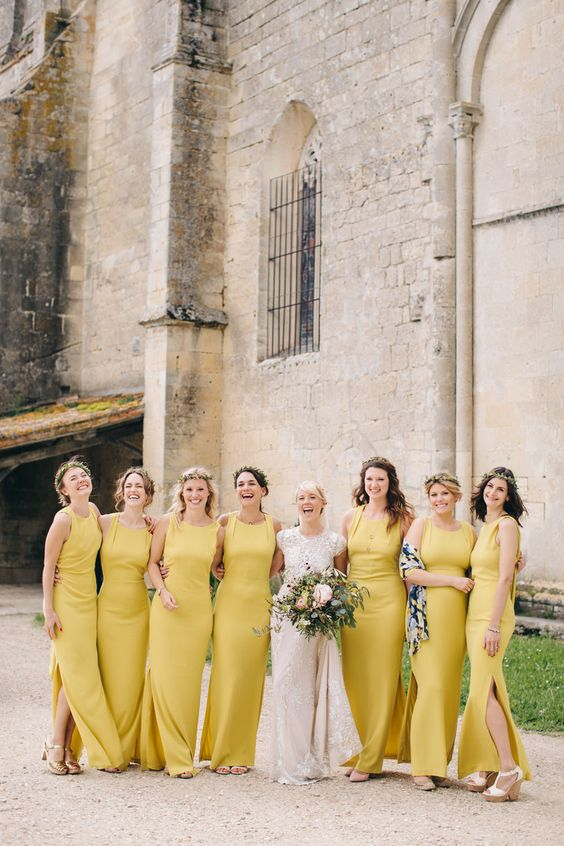 Yellow Wedding Inspiration, Yellow Bridesmaid Dresses, DC Wedding Planner Bright Occasions