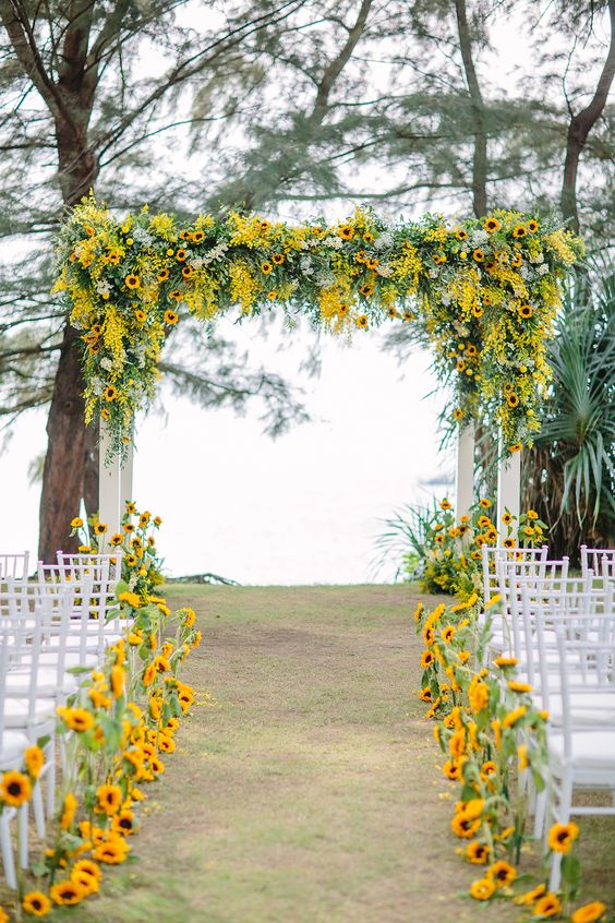 Yellow Wedding Inspiration, Ceremony Space, DC Wedding Planner Bright Occasions