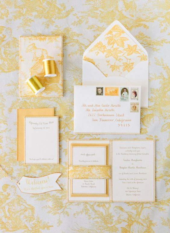 Yellow Wedding Inspiration, Invitation Suite, DC Wedding Planner Bright Occasions