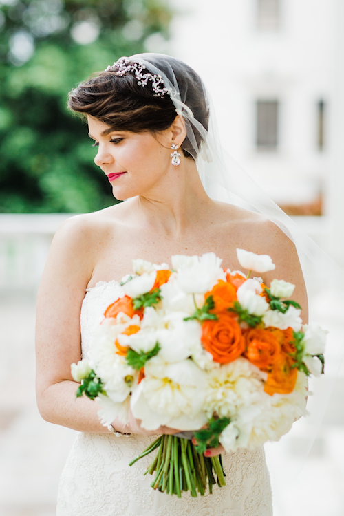 Orange Wedding Inspiration, Bridal Bouquet, Wedding Planner Bright Occasions Emily Clack Photography