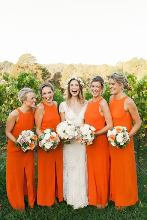 Orange Wedding Inspiration, Bridesmaid Dresses, Wedding Planner Bright Occasions-Kate Robinson Photography