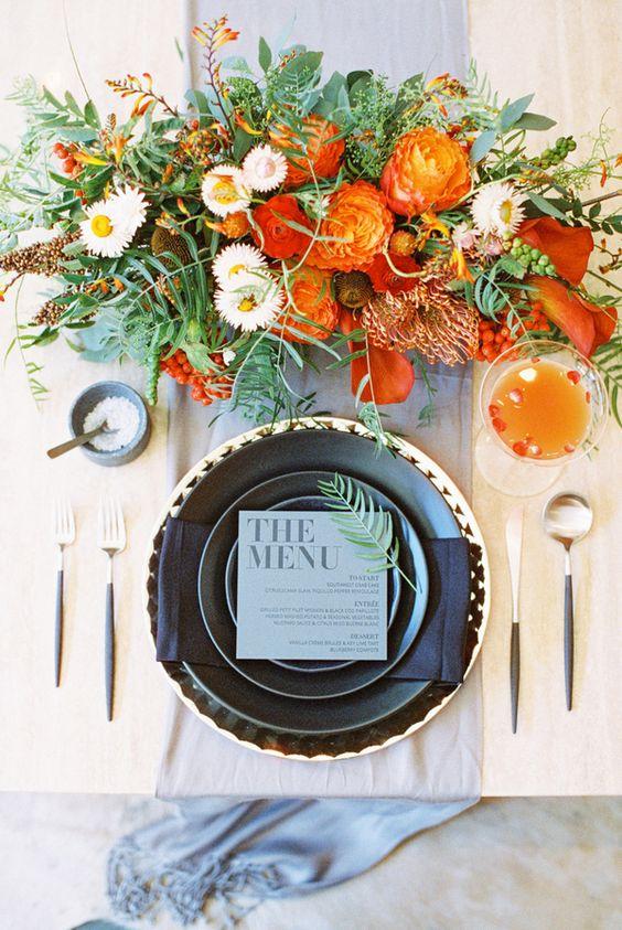 Orange Wedding Inspiration, Centerpiece Flowers, Wedding Planner Bright Occasions,