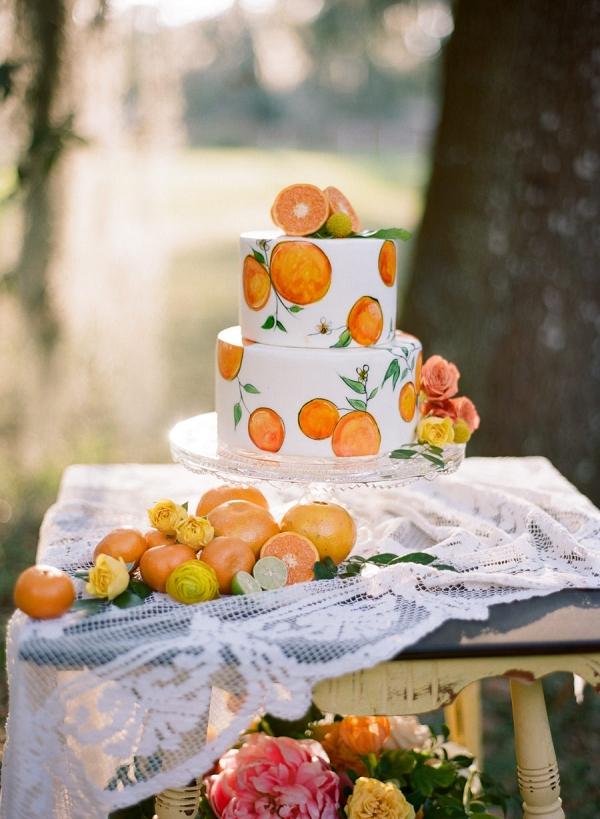 Orange Wedding Inspiration, Citrus Cake, Wedding Planner Bright Occasions