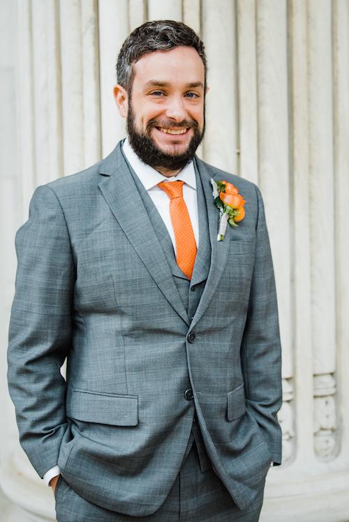 Orange Wedding Inspiration, Groom, Wedding Planner Bright Occasions, Emily Clack Photography