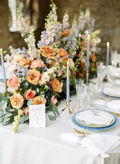 Orange Wedding Details, Head Table Floral Runner, Wedding Planner Bright Occasions, Photo by Lisa Blume Photography