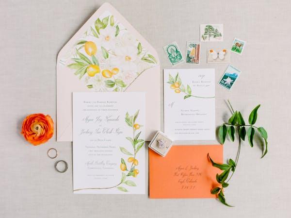 Orange Wedding Inspiration, Invite, Wedding Planner Bright Occasions, Photos by Connie Whitlock
